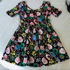 Lush Scuba Flower Print Skater Dress
